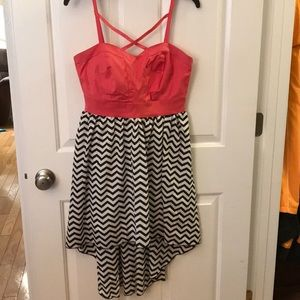 Pink and Chevron high low dress